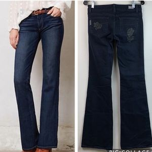 PAIGE Laurel Canyon leather roses boot flare jeans